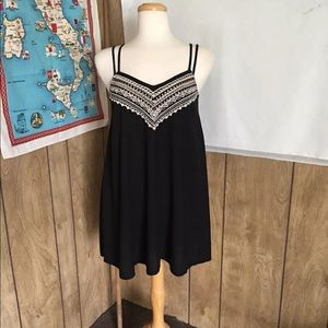 American Eagle Black Embroidered Cover Up Dress S